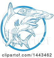Clipart Of A Mono Line Styled Swimming Hammerhead Shark Royalty Free Vector Illustration by patrimonio