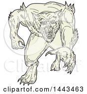 Clipart Of A Mono Line Styled Werewolf Running Forward Royalty Free Vector Illustration by patrimonio