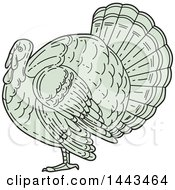 Clipart Of A Mono Line Styled Turkey Bird In Profile Royalty Free Vector Illustration by patrimonio