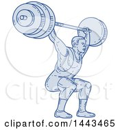 Poster, Art Print Of Mono Line Styled Strongman Bodybuilder Lifting A Barbell Over His Head And Doing Squats