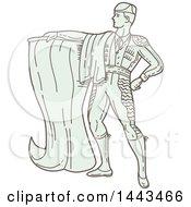 Mono Line Styled Spanish Matador Holding A Cape