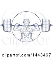 Clipart Of A Mono Line Styled Strongman Lifting A Barbell Royalty Free Vector Illustration by patrimonio
