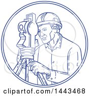 Clipart Of A Mono Line Styled Male Surveyor Using A Theodolite Royalty Free Vector Illustration by patrimonio