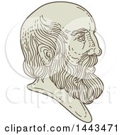 Clipart Of A Mono Line Styled Bust Of Plato In Profile Royalty Free Vector Illustration