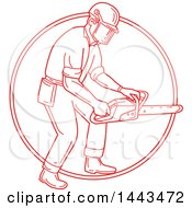 Clipart Of A Mono Line Styled Red Lumberjack Or Arborist Holding A Chainsaw In A Circle Royalty Free Vector Illustration