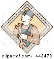 Mono Line Styled Mechanic Holding A Wrench In A Diamond