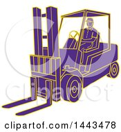 Clipart Of A Mono Line Styled Purple And Yellow Man Operating A Forklift Royalty Free Vector Illustration