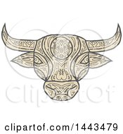 Clipart Of A Mandala Styled Bull Head Royalty Free Vector Illustration by patrimonio