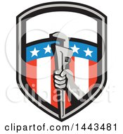 Retro Plumber Hand Holding A Pipe Monkey Wrench In An American Shield
