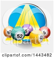 Circle With Yellow Lines And 3d Bingo Balls Emerging On A Shaded Background