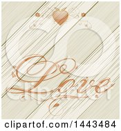 Floral Heart And Love Text Over Diagonal Wood Planks