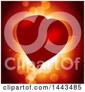 Red Love Heart Over Glowing Light And Flares