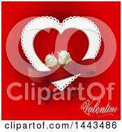Clipart Of A Doily Heart With White Roses And A Banner On Red With Valentine Text Royalty Free Vector Illustration by elaineitalia