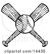 Baseball Over Two Crossed Baseball Bats Clipart Illustration