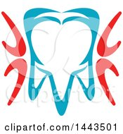 Red White And Blue Dental Tooth Logo Design