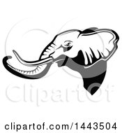 Clipart Of A Black And White Profiled Elephant Mascot Head Logo Royalty Free Vector Illustration by Seamartini Graphics