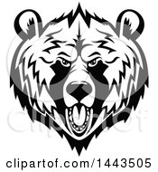 Clipart Of A Black And White Grizzly Bear Mascot Head Logo Royalty Free Vector Illustration
