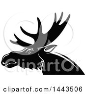 Clipart Of A Black And White Profiled Elk Mascot Head Logo Royalty Free Vector Illustration by Seamartini Graphics