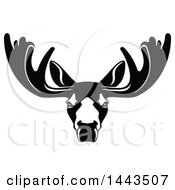 Clipart Of A Black And White Profiled Elk Caribou Or Moose Mascot Head Logo Royalty Free Vector Illustration by Vector Tradition SM