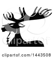 Clipart Of A Black And White Profiled Elk Mascot Head Logo Royalty Free Vector Illustration by Vector Tradition SM