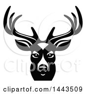 Clipart Of A Black And White Buck Deer Mascot Head Logo Royalty Free Vector Illustration by Vector Tradition SM