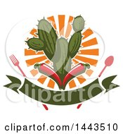 Clipart Of A Mexican Food Cactus Fork Spoon Sun Banner And Red Chili Peppers Design Royalty Free Vector Illustration by Vector Tradition SM