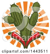 Clipart Of A Mexican Food Cactus And Red Chili Peppers Design Royalty Free Vector Illustration by Vector Tradition SM