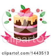 Clipart Of A Layer Cake With Berries Over A Banner Royalty Free Vector Illustration by Vector Tradition SM