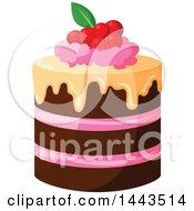 Clipart Of A Layer Cake With Berries Royalty Free Vector Illustration by Vector Tradition SM