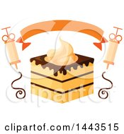 Clipart Of A Layered Cake With Chocolate And Whipped Cream A Banner And Chocolate Syringes Royalty Free Vector Illustration by Vector Tradition SM