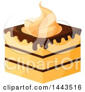 Clipart Of A Layered Cake With Chocolate And Whipped Cream Royalty Free Vector Illustration
