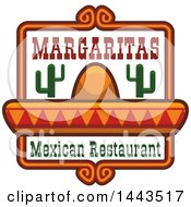 Clipart Of A Mexican Restaurant Design With Margaritas Text A Sombrero And Cactus Royalty Free Vector Illustration by Vector Tradition SM