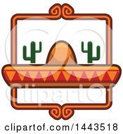 Clipart Of A Mexican Food Logo Design With A Sombrero Hat And Cactus Plants Royalty Free Vector Illustration by Vector Tradition SM