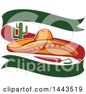 Clipart Of A Mexican Food Cactus Chili Pepper Sombrero Hat And Banner Design Royalty Free Vector Illustration by Vector Tradition SM