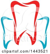 Clipart Of A Red White And Blue Dental Tooth Logo Design Royalty Free Vector Illustration by Vector Tradition SM