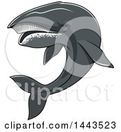 Clipart Of A Tough Humpback Whale Mascot Royalty Free Vector Illustration by Vector Tradition SM