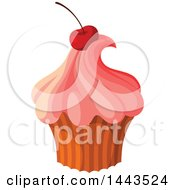 Clipart Of A Cupcake With Pink Frosting And A Cherry Royalty Free Vector Illustration by Vector Tradition SM