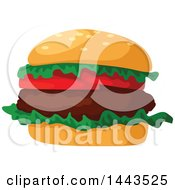 Clipart Of A Hamburger With Tomatoes And Lettuce Royalty Free Vector Illustration