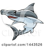 Clipart Of A Tough Hammerhead Shark Mascot Royalty Free Vector Illustration