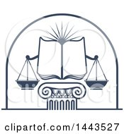 Clipart Of A Blue Open Law Book Sun And Scales Of Justice Over A Greek Or Roman Column Pillar Royalty Free Vector Illustration by Vector Tradition SM