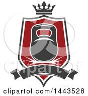 Clipart Of A Kettlebell In A Shield With A Crown And Blank Banner Royalty Free Vector Illustration