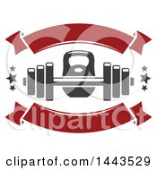 Clipart Of A Kettlebell Barbell Stars And Banners Royalty Free Vector Illustration by Vector Tradition SM
