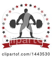 Clipart Of A Silhouetted Strong Male Bodybuilder Holding A Barbell In A Frame Of Stars With A Blank Banner Royalty Free Vector Illustration by Vector Tradition SM