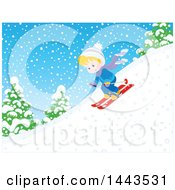 Clipart Of A Blond White Boy Skiing Down A Snowy Hill Royalty Free Vector Illustration