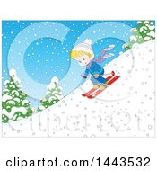 Clipart Of A Cartoon Blond Caucasian Boy Skiing Down A Snowy Hill Royalty Free Vector Illustration by Alex Bannykh