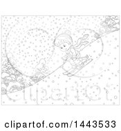 Clipart Of A Cartoon Black And White Lineart Boy Skiing Down A Snowy Hill Royalty Free Vector Illustration