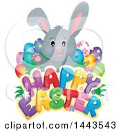 Gray Bunny Rabbit With Decorated Eggs Over Happy Easter Text