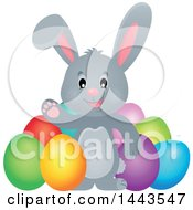 Clipart Of A Gray Easter Bunny Rabbit Waving By Dyed Eggs Royalty Free Vector Illustration