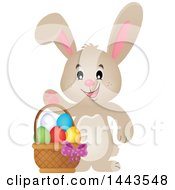 Clipart Of A Beige Bunny Rabbit Waving By An Easter Basket Royalty Free Vector Illustration by visekart