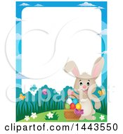 Clipart Of A Border Of A Beige Bunny Rabbit Waving By An Easter Basket Royalty Free Vector Illustration